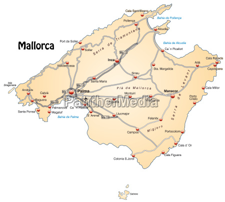 map of mallorca with transport network