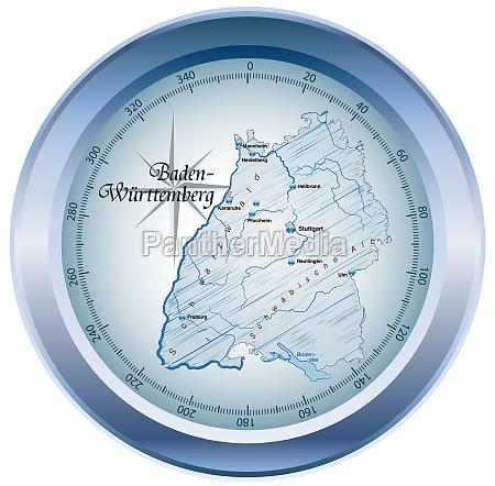 map of baden wuerttemberg as an