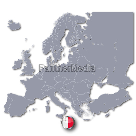 map of europe with malta