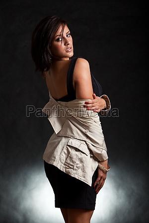 attractive sexy twenties brunette hispanic fashion