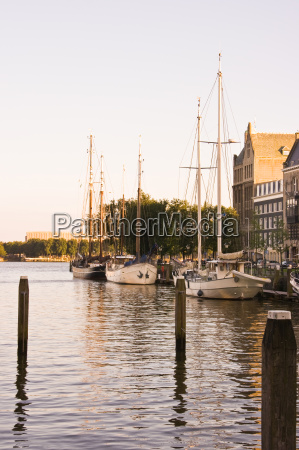 small harbour with old sailingships