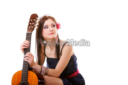 summer girl with guitar on white