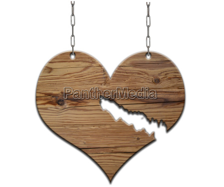 broken wood heart shield