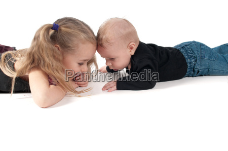two children touching to each others