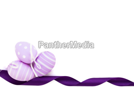 purple band and painted easter eggs