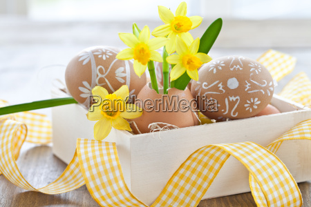 fresh easter bells in eggshell