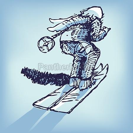 drawing skier