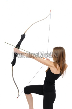 archery kneeling woman with bow