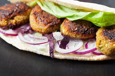 falafel sandwich with lettuce