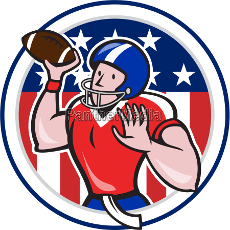 football quarterback throwing circle cartoon