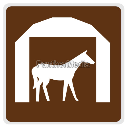 road sign horse and barn