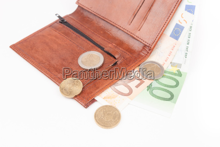 brown wallet with eu money