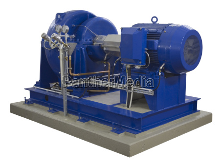 blue industrial compressor on white