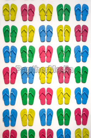 many colored flip flops