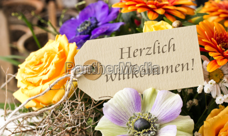welcome german flowers card bouquet text
