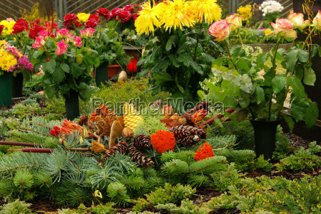 graveyard set floral arrangement cemetery