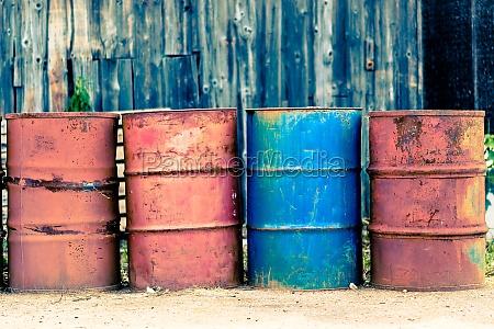 four old barrels for oil petroleum