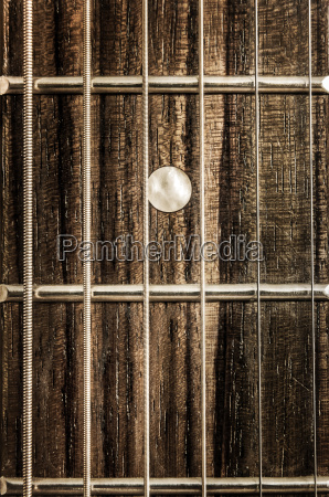 detail close up view of guitar