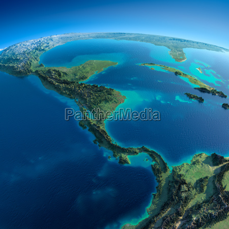 detailed earththe countries of central america