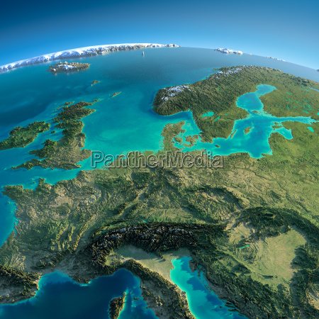 detailed earth central europe