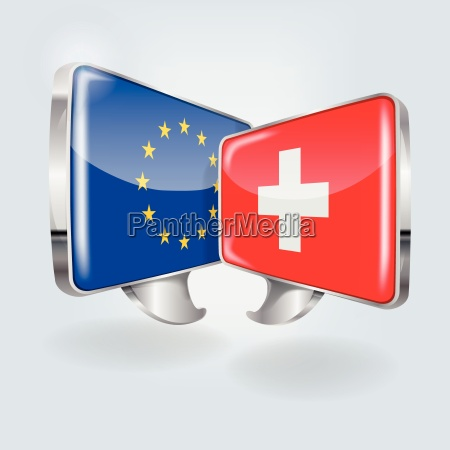 speech bubbles with europe and switzerland