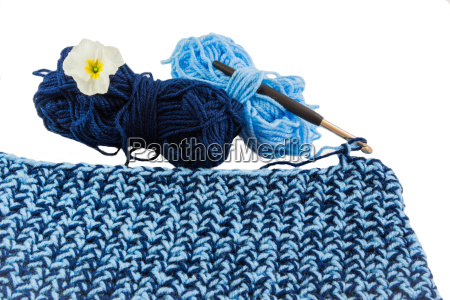 crochet with two wool balls
