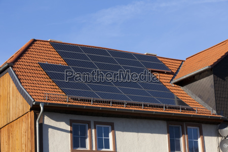 solar modules mounted on roof to
