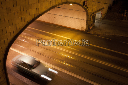 tunnel street at night in warsaw