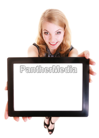 happy smiling blond girl showing ipad
