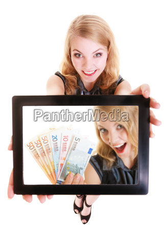 businesswoman showing ipad tablet touch pad