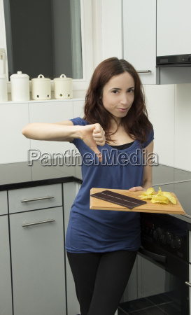 young woman and unhealthy food