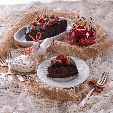 chocolate walnut cake with cherries
