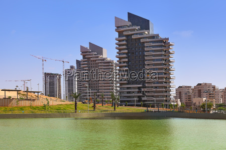 complex of modern residential building and