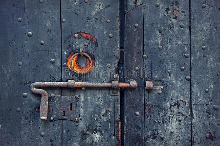 closeup image of old wooden door