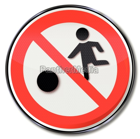 prohibition sign for children and ball