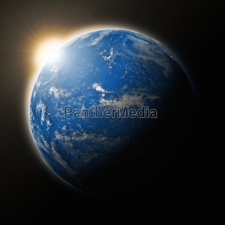 sun over pacific ocean on planet
