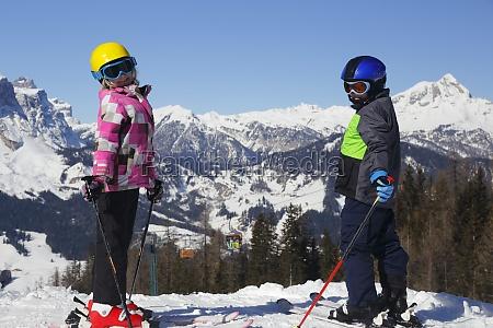 children in the ski area