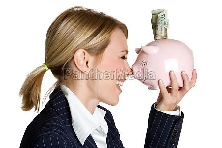 piggy bank woman