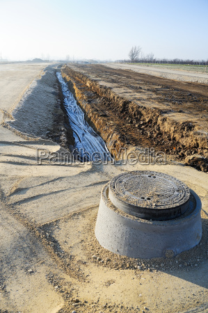 channel for rainwater along a newly