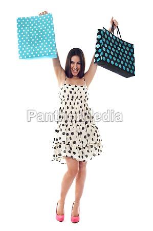 cheerful shopaholic teenager