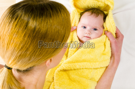 to towel down baby