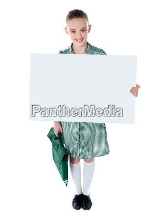 cute school girl with an advertising