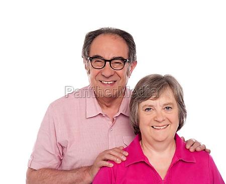 happy senior love couple posing