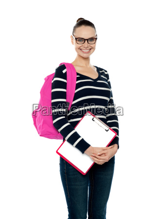 smiling college girl carrying school bag