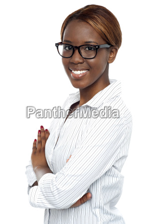 confident african lady consultant posing