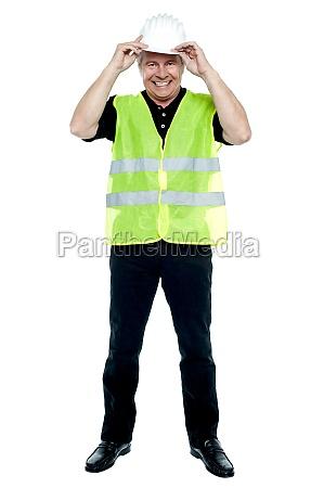 construction worker in fluorescent jacket