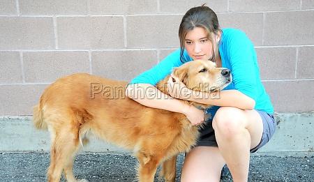 female and dog
