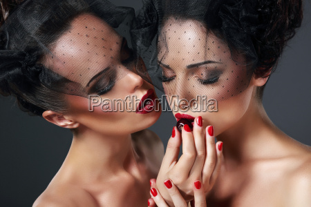 allurement temptation affectionate young women with