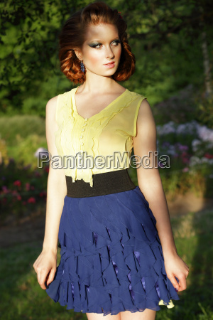 simplicity young red hair woman in