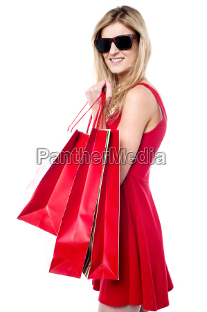 trendy young shopaholic girl